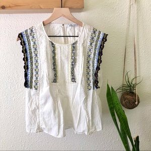 Zara embroidered white top